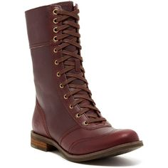 Timberland Savin Hill Lace-Up Boot ($100) ❤ liked on Polyvore featuring shoes, boots, burgundy, mid-calf boots, lace up boots, timberland footwear, mid boots, lacing boots and burgundy boots