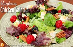 Raspberry Chicken Salad Recipe. Are you looking for a cool dinner to serve on a hot summer night? Give this recipe a try. Its light and delicious!