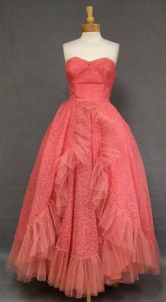 Vibrant Embroidered Salmon Chiffon Ball Gown w/ Tulle Trim 37 VINTAGE...