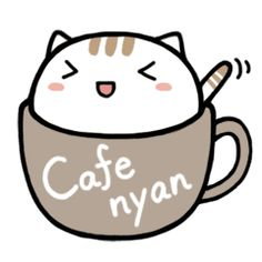 This is a cute cat sticker of entering into the tea cup. This is a cute cat sticker of entering into the tea cup. Doodles Kawaii, Cute Kawaii Drawings, Cute Doodles, Cute Animal Drawings, Griffonnages Kawaii, Chat Kawaii, Kawaii Anime, Chibi Cat, Cute Chibi