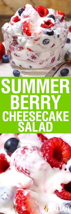 This simple recipe Summer Berry Cheesecake Salad recipe comes together with just 5 ingredients. Rich and creamy cheesecake filling is folded into your favorite berries to create the most amazing fruit salad ever! Your family will go nuts over it.