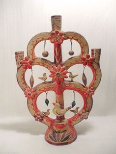 "VINTAGE LARGE TREE OF LIFE MEXICAN FOLK ART POTTERY CANDELABRA 17""  ~NO RESERVE~"
