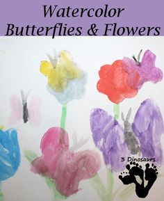 Watercolor Butterfly & Flower Painting with cookie cutters - 3Dinosaurs.com