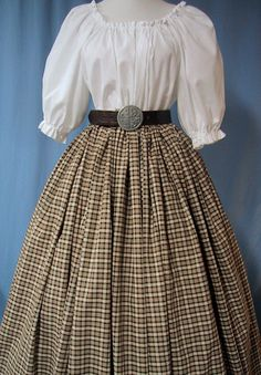 This lovely Long Plaid Skirt is Perfect for wearing to a Renaissance Faire, Victorian, Civil War or Scottish Costume Events. And, its a great addition to your wardrobe for a Theater Production, School Play or Period Reenactment Event! ** Note: Listing is for the long SKIRT ONLY. ** This is a Ladies Size, one-size-fits-most type costume skirt, with a drawstring waist. ** The blouse and belt pictured are for Display Only and NOT included in the listing.** This drawstring waist skirt is…