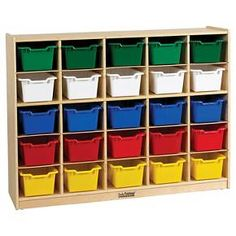 <p>Unique, birch classroom storage unit designed for sorting and storing papers, homework and art supplies! Assorted color bins included. Casters included for mobility.</p>