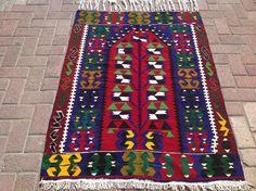 Navy blue and red Vintage Turkish kilim rug, small area rug, kilim rug, kelim rug, vintage rug, bohemian rug, bathroom rug, kitchen rug, rug