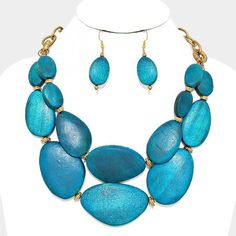 Big Chunky Teal Blue Wood Bead LAYERED Strands Gold Chain Necklace Earring Set #Hush