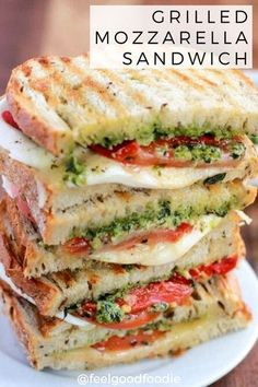 20 reviews · 15 minutes · Vegetarian · Serves 4 · This Grilled Mozzarella Sandwich is made with fresh tomatoes and walnut pesto grilled with sourdough bread. It's easy to assemble and bursting with flavor! | Lunch | Grilled Cheese | Lunch Recipes, Vegetarian Recipes, Cooking Recipes, Healthy Recipes, Easy Sandwich Recipes, Gourmet Sandwiches, Good Sandwiches, Kitchen Recipes, Grilled Sandwich Ideas