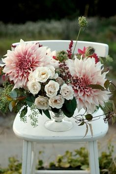 cafe au lait dahlias from our farm and majolica roses | claredayflowers.ca