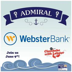 We are so happy to have Webster Bank as our Admiral Sponsor for this year's Clambake With Lobster.  We hope you will join us for this awesome event June 9th! Learn more at unitedwayofgnb.org  #clambake2017 #clambake #lobster #websterbank #event #sponsor #admiral #bestevent #community