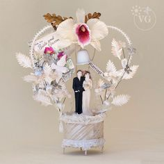 Vintage 1920's Antique Wedding Cake Topper with Cattleya Orchid, Heart Shaped Arch, Victorian Dove and Wedding Card Vintage 1920's Wedding
