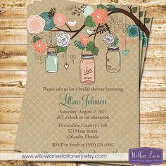 Bridal Shower Invitation Mason Jar Bridal by WillowLaneStationery