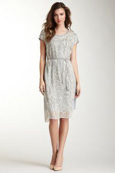 Elie Tahari Debbie Belted Print Dress