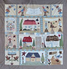 quilt mystère 2 de born to quilt House Quilts, Fabric Houses, Le Lot, Country Quilts, Sampler Quilts, Quilted Table Runners, Primitive Crafts, Applique Quilts, Quilting Designs