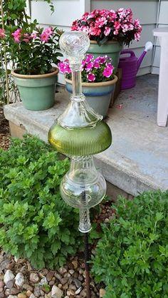 My Glass Garden - vintage green bowl tower spire