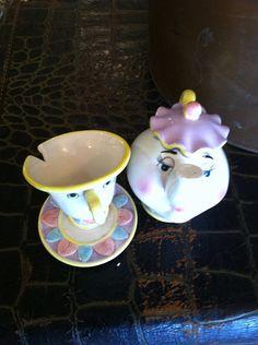 Vintage mrs pots Disney teapot figure with teacup chip child's nursery decor on Etsy, $15.00