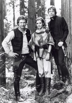 Harrison Ford as Han Solo, Carrie Fisher as Princess Leia and Mark Hamill as Luke Skywalker from Star Wars Return Of The Jedi