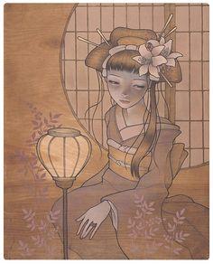 Painted on wood by Audrey Kawasaki