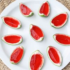 Watermelon jello, and vodka in a lime peel, perfect for summer parties.