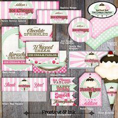 Ice Cream Party - Ice Cream Parlor Birthday - Food Tents - A La Carte - Printable (Social, Shoppe, Vintage)