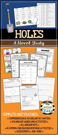 This novel study for Holes by Louis Sachar contains 107 pages of resources, including comprehension, vocabulary, Common Core activities, assessments, and more! You will find that this study's layout is student-friendly, and that the questions and activities are easily adaptable to every learner. All Common Core activities have the Common Core code listed in the bottom corner, keeping both you and your students focused.
