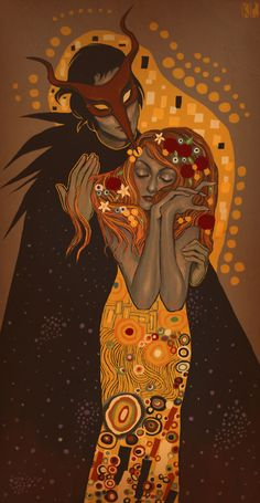 The Masked Stranger and The Maiden (Klimt homage) by ~Kippery