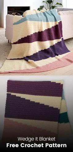 Wedge It Blanket Free Crochet Pattern #crochet #crafts #homedecor #blanket
