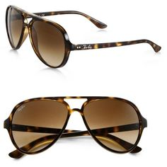 Ray-Ban Iconic Cats 5000 Aviator Sunglasses ($175) ❤ liked on Polyvore featuring accessories, eyewear, sunglasses, apparel & accessories, tortoise, ray ban eyewear, tortoise shell aviators, tortoise shell sunglasses, ray ban aviator and tortoise aviators