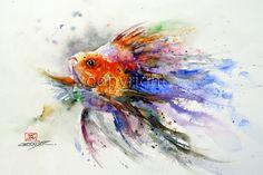 Imprimir acuarela de GOLDFISH pez arte por Dean Crouser