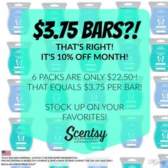 SCENTSY - AUGUST 10% OFF SALE - SCENTSY BARS Bars On Sale - USD Flyer Created By: Brittany Gerrity www.brittanygerrity.scentsy.ca Admin Of: No-Nonsense Canadian Flyers Sharing Group on Facebook