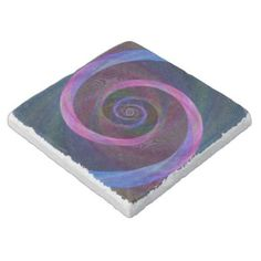 Striped spiral stone coaster $11.00 *** Pink and blue abstract geometric spiral design - coaster