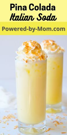 Enjoy this refreshing and delicious Pineapple Coconut Italian Soda. It's so easy to make all you need is Club Soda, Pineapple Juice, Cream, and a couple more ingredients and you're good to go with this yummy summer drink. Go and get the recipe now and start creating some delicious drinks. Pineapple Coconut, Pineapple Juice, Fancy Drinks, Summer Drinks, All You Need Is, Italian Sodas Recipe, Soda Recipe, Soup And Sandwich, Mimosas