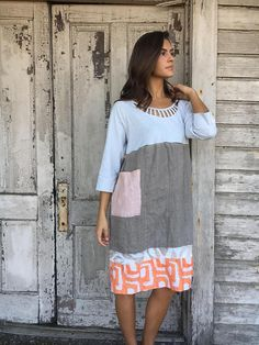 Romantic /Tattered/Rustic/Boho/Gypsy Dress upper part of dress is made with cotton and has added lace trim along sleeve cuff lower part is made with linen/cotton and has added pocket and tie along back Size-medium large chest-48 has stretch hips-48 length-39