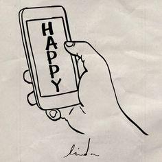 New party member! Tags: happy fun sad illustration phone cellphone thumb swipe bipolar despressed