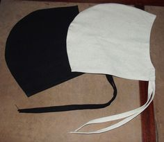 SCA, medieval, viking, linen coif. Heavy armored combat or for costume. Beige or black