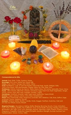 My correspondences chart for the sabbat Litha with altar. - By Skyla NightOwl - The Magical Circle School - www.themagicalcircle.net