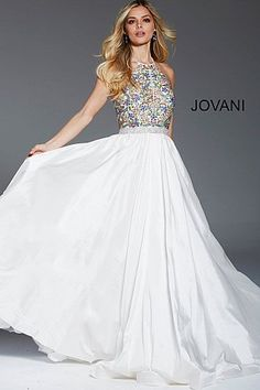 fdfb47f185c3 Off White Beaded Bodice High Neck Pageant Gown 52177 #PageantDress #Jovani  #EveningGown #