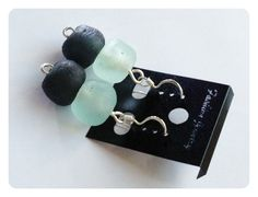 These Stunning Sterling silver drop earrings are made with black & white recycled glass beads from Ghana.