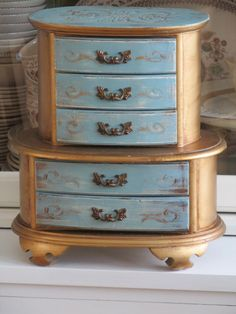 UPCYCLED vintage painted wood jewelry box in duck egg blue painted