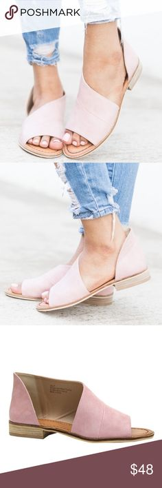QWENN Cut Out Flats NOTE:  TRUE COLOR IS PIC 3  These blush flats are made with faux leather and feature a side cutout, peep toe, and cushioned insole.   Runs a half size big.  NO TRADE, PRICE FIRM Shoes Flats & Loafers