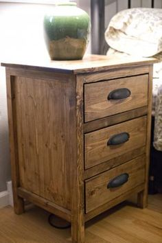 beautiful wood nightstand bedside table pine reclaimed cup pulls farmhouse style pottery barn inspired easy free plans stained wood ANA-WHITE.com