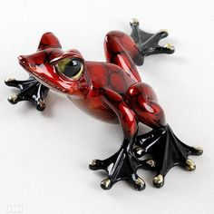 GORGEOUS BRONZE FROG Figurine Statue Sculpture by frogmaster1999, $150.00