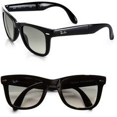 Ray-Ban Folding Square Wayfarer Sunglasses (565 BRL) ❤ liked on Polyvore featuring accessories, eyewear, sunglasses, glasses, accesory, extras, folding glasses, magnetic glasses, folding sunglasses and square wayfarer