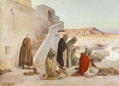 Eugène Girardet (1853-1907)  La prière, à Bou-Saada, Algérie Huile sur toile   signée en  bas à droite 73 x 100 cm   - Galerie Ary Jan