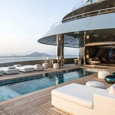 Interior & exterior photos of SAVANNAH, the Feadship mega yacht, designed by Feadship & CG Design with an interior by CG Design. Yacht Design, Billard Design, Yatch Boat, Luxury Yacht Interior, Super Yachts, Power Boats, Speed Boats, Luxury Travel, Dream Vacations