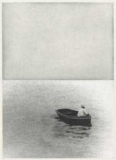 By John Baldessari. (Boat (With Figure Standing) / John Baldessari, Collage, Land Art, Mirror Image, Shades Of Black, Art Photography, Street Art, Illustration Art, Ocean