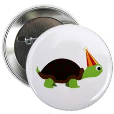 "Party Turtle 2.25"" Button on CafePress.com"