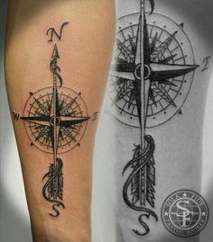 Forearm tattoo idea arrow and compass JJ Half Sleeve Tattoos Compass, Arrow Compass Tattoo, Compass Tattoo Design, Sleeve Tattoos For Women, Arrow Tattoos, Feather Tattoos, Tattos, Inner Forearm Tattoo, Full Body Tattoo