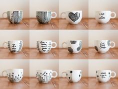 {mugs} / sharpie mug Sharpie Projects, Sharpie Crafts, Diy Projects, Mugs Sharpie, Diy Mugs, Sharpie Mug Designs, Diy Mug Designs, Sharpie Doodles, Diy Becher