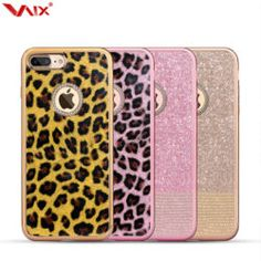 Silicone Case Apple iPhone 7, iPhone 7 Plus Shiny Rhinestone Diamond Bling, Leopard Spots Electroplated Soft TPU Cover For Girls